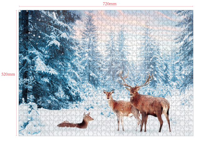 1000 Pieces Of Paper Puzzle-Snow Wonderland , Christmas Piece Jigsaw Puzzle, Funny Family Playing Jigsaw Puzzle Game 2