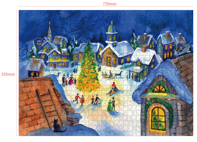 1000 Pieces Of Paper Puzzle-Christmas Eve, Christmas Piece Jigsaw Puzzle, Funny Family Playing Jigsaw Puzzle Game 2