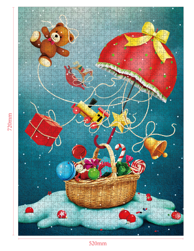 1000 Pieces Of Paper Puzzle-Christmas Goodies , Christmas Piece Jigsaw Puzzle, Funny Family Playing Jigsaw Puzzle Game 2