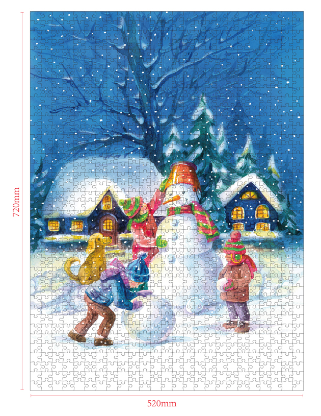 1000 Pieces Of Paper Puzzle-Snowman , Christmas Piece Jigsaw Puzzle, Funny Family Playing Jigsaw Puzzle Game 2
