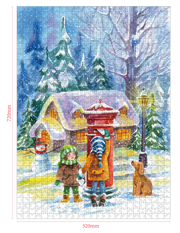 1000 Pieces Of Paper Puzzle-The Red Mailbox  , Christmas Piece Jigsaw Puzzle, Funny Family Playing Jigsaw Puzzle Game 2
