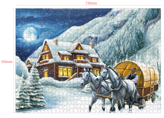 1000 Pieces Of Paper Puzzle-Snowy Night,  Christmas Piece Jigsaw Puzzle, Funny Family Playing Jigsaw Puzzle Game 2