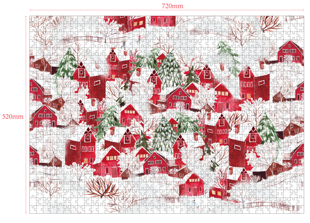 1000 Pieces Of Paper Puzzle-The Red Town , Christmas Piece Jigsaw Puzzle, Funny Family Playing Jigsaw Puzzle Game 2