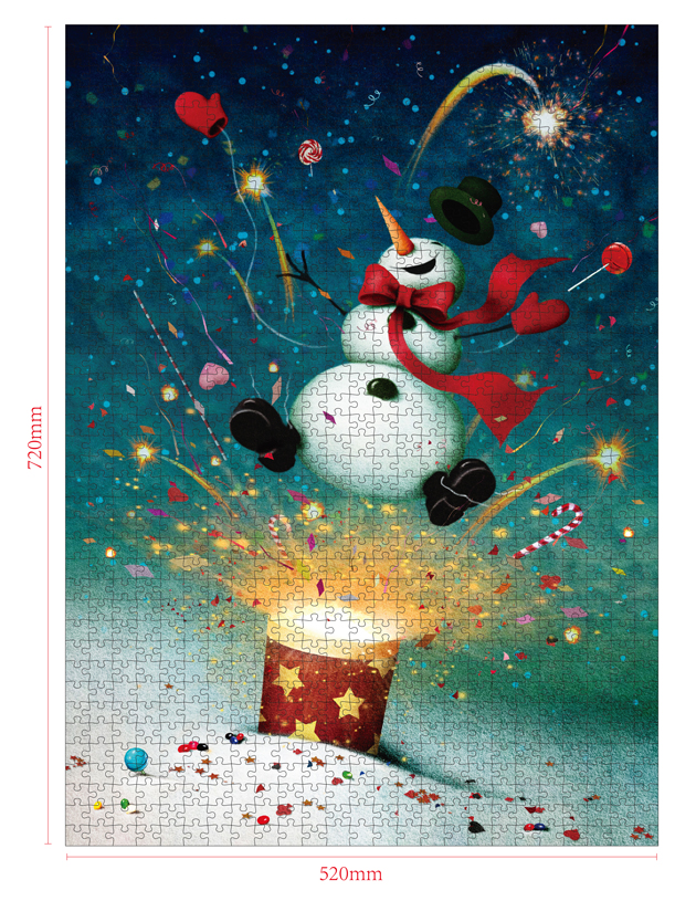 1000 Pieces Of Paper Puzzle-Snowman Magic , Christmas Piece Jigsaw Puzzle, Funny Family Playing Jigsaw Puzzle Game 2