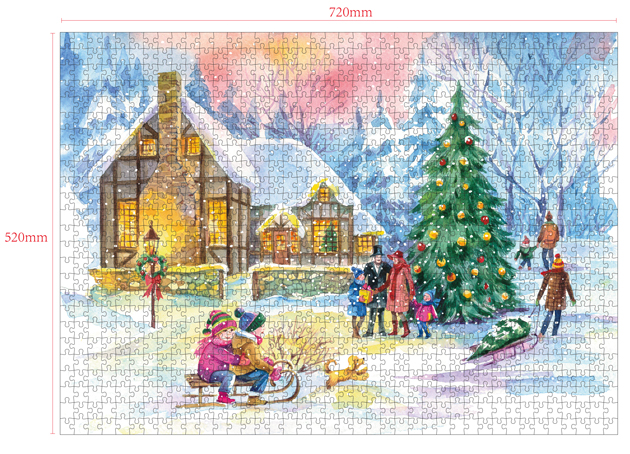 1000 Pieces Of Paper Puzzle-Christmas Day, Christmas Piece Jigsaw Puzzle, Funny Family Playing Jigsaw Puzzle Game 2