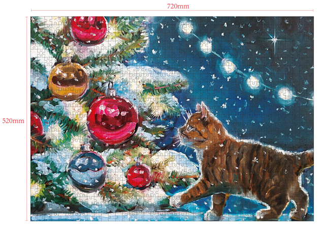 1000 Pieces Of Paper Puzzle-Kitty , Christmas Piece Jigsaw Puzzle, Funny Family Playing Jigsaw Puzzle Game 2