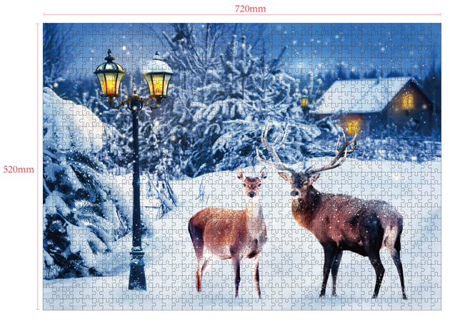 1000 Pieces Of Paper Puzzle-A Snowy Night , Christmas Piece Jigsaw Puzzle, Funny Family Playing Jigsaw Puzzle Game 2