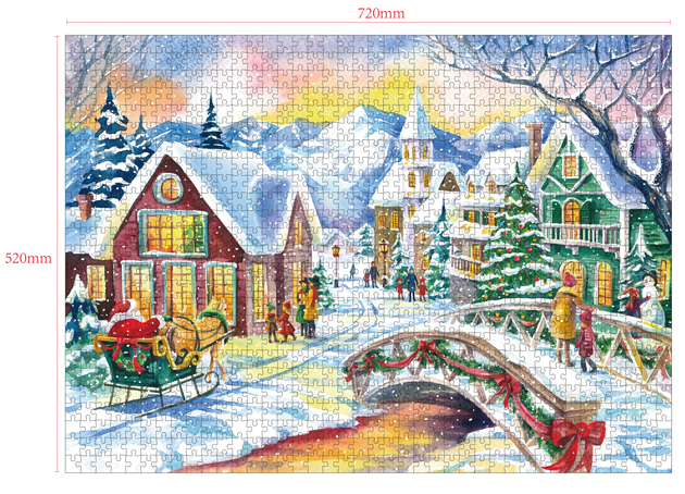 1000 Pieces Of Paper Puzzle-Snow White Village, Christmas Piece Jigsaw Puzzle, Funny Family Playing Jigsaw Puzzle Game 2