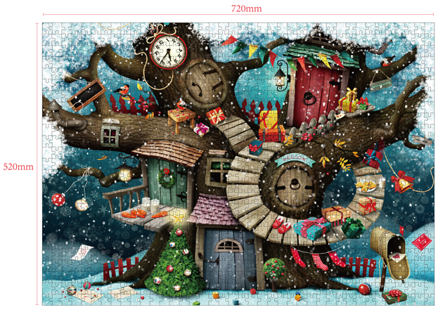1000 Pieces Of Paper Puzzle-Tree House , Christmas Piece Jigsaw Puzzle, Funny Family Playing Jigsaw Puzzle Game 2