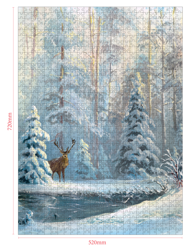 1000 Pieces Of Paper Puzzle-The Enchanted Forest , Christmas Piece Jigsaw Puzzle, Funny Family Playing Jigsaw Puzzle Game 2