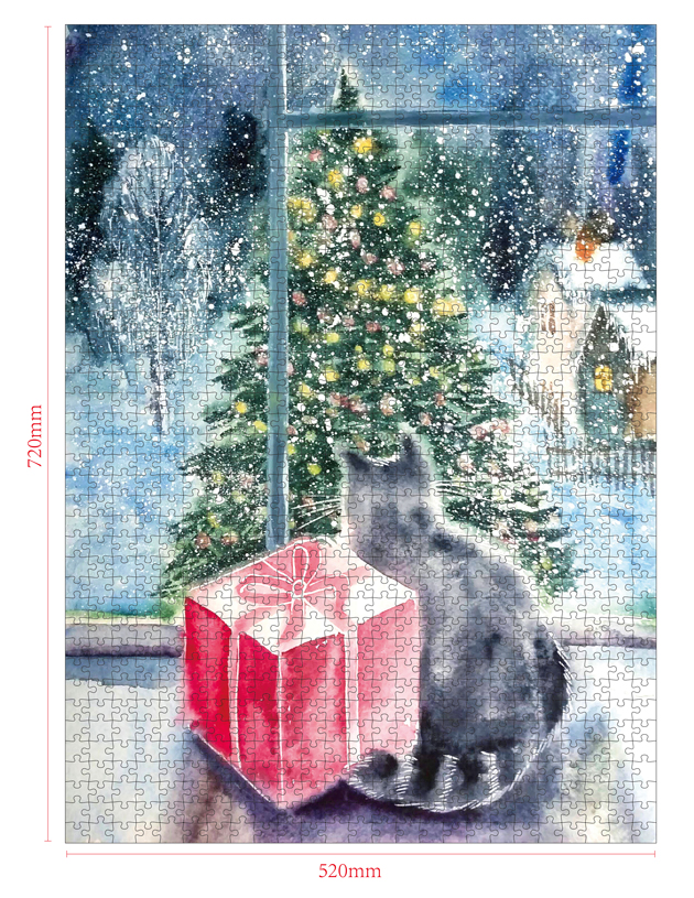 1000 Pieces Of Paper Puzzle-The Gift , Christmas Piece Jigsaw Puzzle, Funny Family Playing Jigsaw Puzzle Game 2