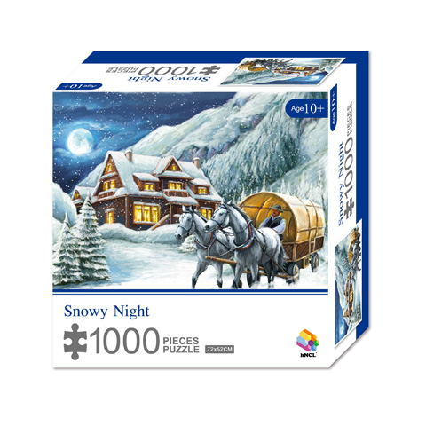 1000 Pieces Of Paper Puzzle-Snowy Night,  Christmas Piece Jigsaw Puzzle, Funny Family Playing Jigsaw Puzzle Game 1