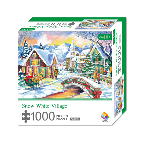 1000 Pieces Of Paper Puzzle-Snow White Village, Christmas Piece Jigsaw Puzzle, Funny Family Playing Jigsaw Puzzle Game 1