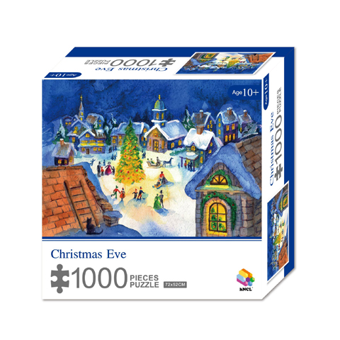 1000 Pieces Of Paper Puzzle-Christmas Eve, Christmas Piece Jigsaw Puzzle, Funny Family Playing Jigsaw Puzzle Game 1