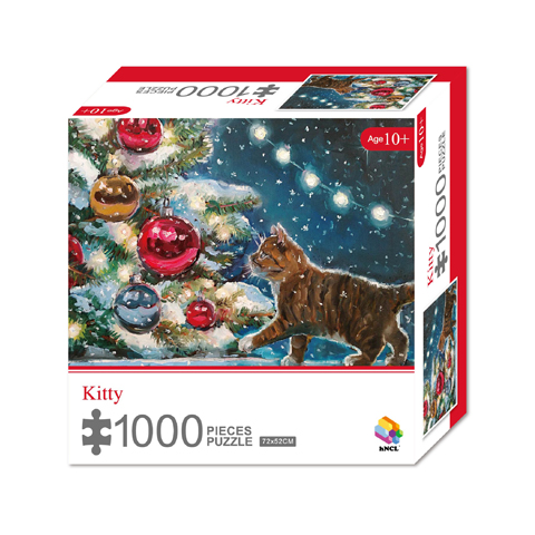 1000 Pieces Of Paper Puzzle-Kitty , Christmas Piece Jigsaw Puzzle, Funny Family Playing Jigsaw Puzzle Game 1