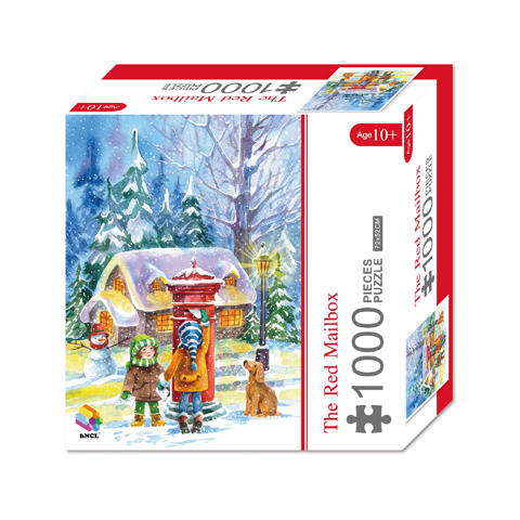 1000 Pieces Of Paper Puzzle-The Red Mailbox  , Christmas Piece Jigsaw Puzzle, Funny Family Playing Jigsaw Puzzle Game 1
