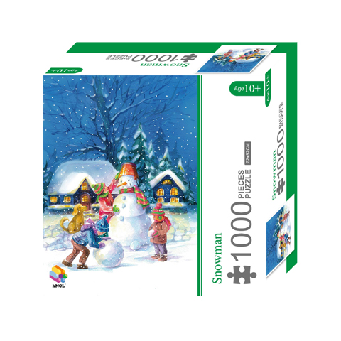 1000 Pieces Of Paper Puzzle-Snowman , Christmas Piece Jigsaw Puzzle, Funny Family Playing Jigsaw Puzzle Game 1