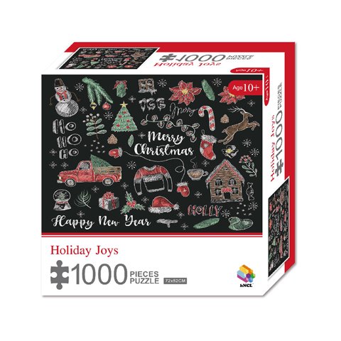 1000 Pieces Of Paper Puzzle-Holiday Joys , Christmas Piece Jigsaw Puzzle, Funny Family Playing Jigsaw Puzzle Game 1