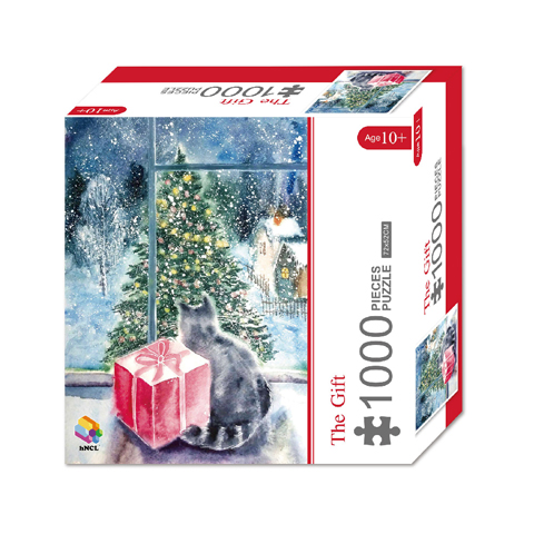 1000 Pieces Of Paper Puzzle-The Gift , Christmas Piece Jigsaw Puzzle, Funny Family Playing Jigsaw Puzzle Game 1