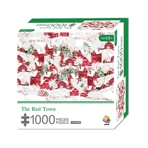 1000 Pieces Of Paper Puzzle-The Red Town , Christmas Piece Jigsaw Puzzle, Funny Family Playing Jigsaw Puzzle Game 1