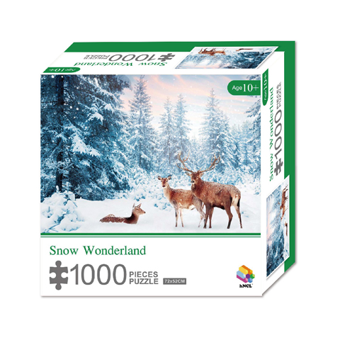 1000 Pieces Of Paper Puzzle-Snow Wonderland , Christmas Piece Jigsaw Puzzle, Funny Family Playing Jigsaw Puzzle Game 1