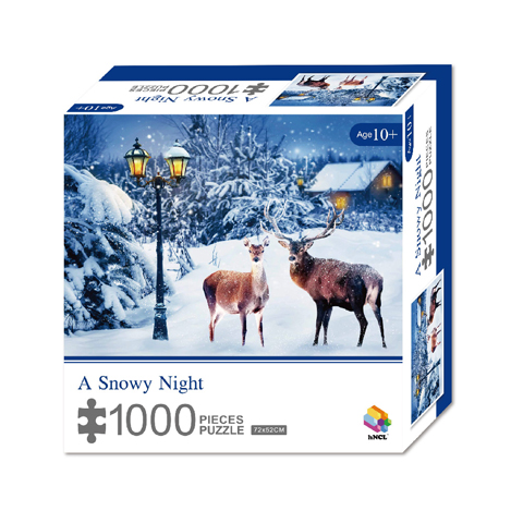 1000 Pieces Of Paper Puzzle-A Snowy Night , Christmas Piece Jigsaw Puzzle, Funny Family Playing Jigsaw Puzzle Game 1