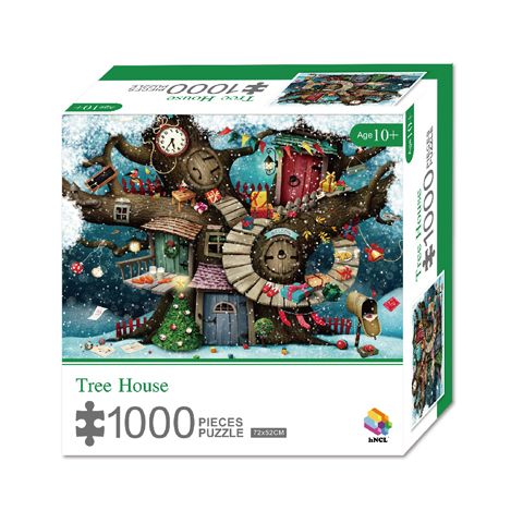 1000 Pieces Of Paper Puzzle-Tree House , Christmas Piece Jigsaw Puzzle, Funny Family Playing Jigsaw Puzzle Game 1