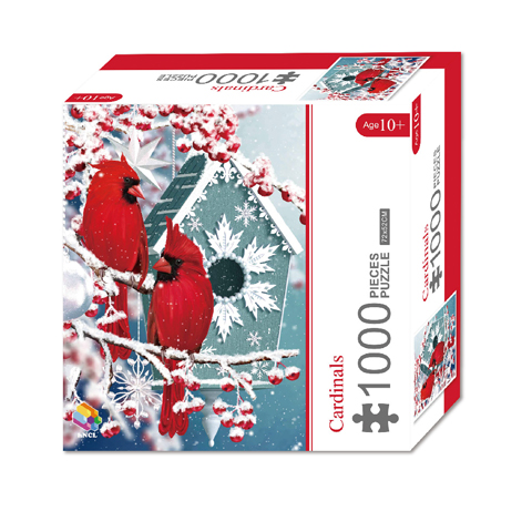 1000 Pieces Of Paper Puzzle-Cardinals , Christmas Piece Jigsaw Puzzle, Funny Family Playing Jigsaw Puzzle Game 1