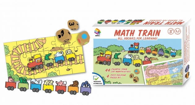 Math Train, Brain Games,Wooden Puzzle, Wooden Product, STEAM Toys 1