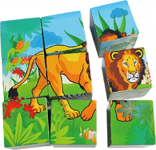 Cube Puzzle - Wild Animals, Educational Toys, Puzzles, Wooden Toys 1